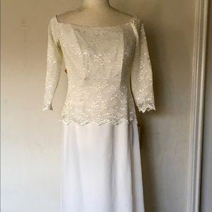 Lace Georgette Cold Shoulder Full Maxi Dress